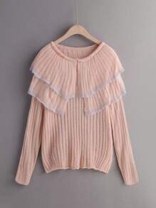 Tiered Layered Ribbed Sweater