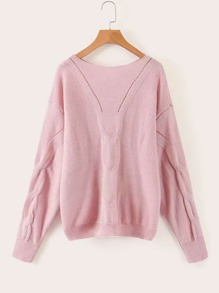 Drop Shoulder Boat Neck Sweater
