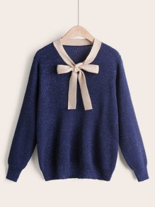 Contrast Tie Neck Sweater