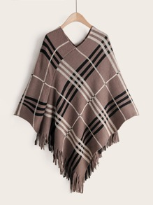 Plaid Fringe Hem Sweater Cape