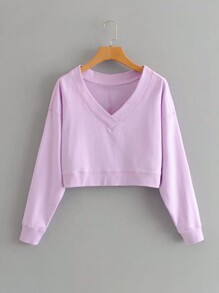 V-Neck Drop Shoulder Sweatshirt