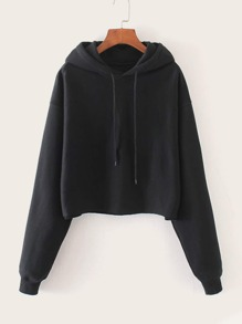 Solid Drawstring Hooded Sweatshirt