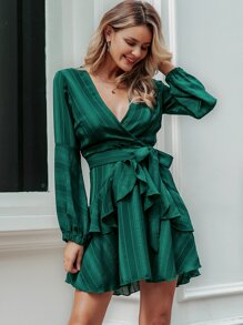 Simplee Striped Ruffle Trim Wrap Belted Dress