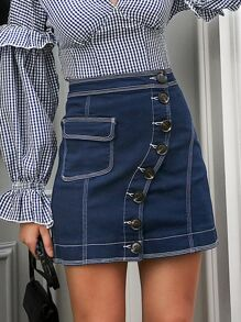 Simplee Button Front Pocket Patch Denim Skirt