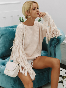 Simplee Solid Drop Shoulder Fringe Detail Sweater
