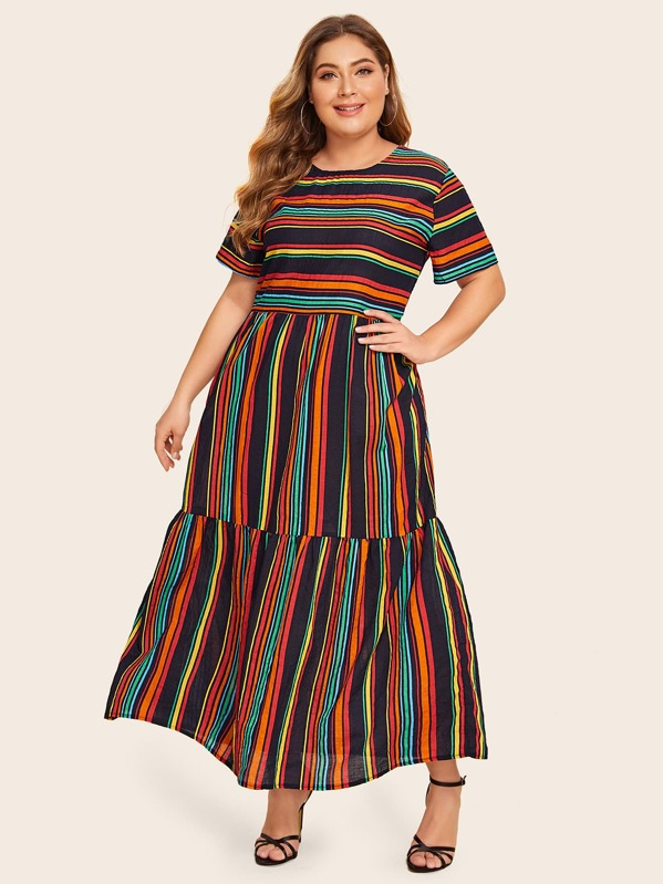 Plus Rainbow Striped Maxi Dress