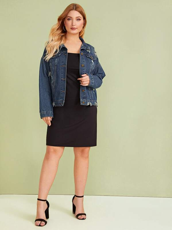 Plus Button Front Ripped Pocket Detail Denim Coat by Sheinside