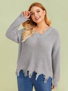 Plus V-neck Frayed Trim Sweater