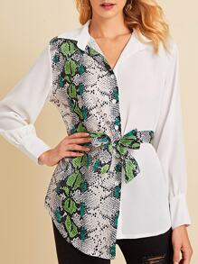 Snakeskin Print Panel Belted Blouse