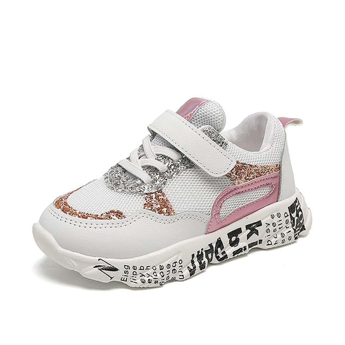 Блестящие кроссовки с текстовым принтом для девочек от SHEIN