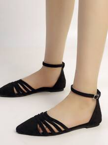 Point Toe Cut Out Ankle Strap Flats