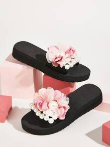 Floral Applique Open Toe Sliders
