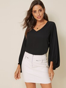 V-neck Solid Bishop Sleeve Blouse