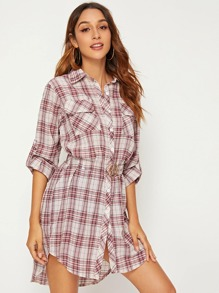 Roll-up Sleeve Plaid Shirt Dress Without Belted