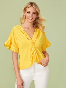 Twist Front Flounce Sleeve Blouse