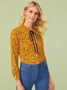 Ditsy Floral Tie Neck Blouse