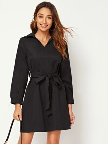 Collar Self Tie Solid Dress
