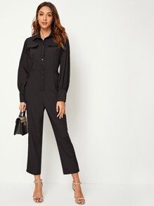 Button Front High Waist Cargo Jumpsuit