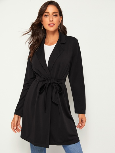 Notched Neck Self Tie Coat