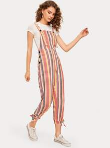 Colorful Striped Knot Hem Jumpsuit