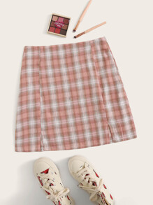 Plaid Slit Hem A-line Skirt