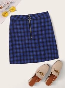 Plaid O-ring Zip Front Skirt
