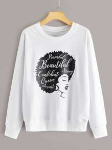 Letter And Figure Print Sweatshirt
