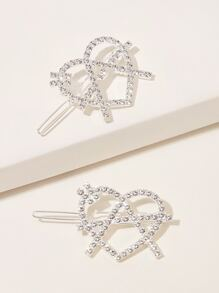 Rhinestone Engraved Heart Decor Hair Clip 2pcs