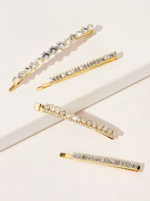 Rhinestone Engraved Hairpin 4pcs