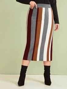 Plus Colorful Striped Straight Sweater Skirt