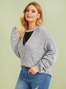 Plus Contrast Mesh Embroidery Drop Shoulder Sweater