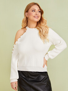 Plus Cold Shoulder Studded Detail Sweater
