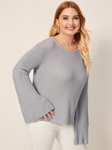 Plus Bell Sleeve Ribbed Sweater