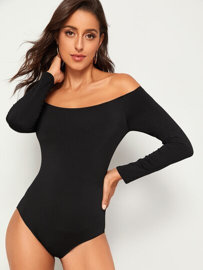 Off-shoulder Slim Fit Bodysuit