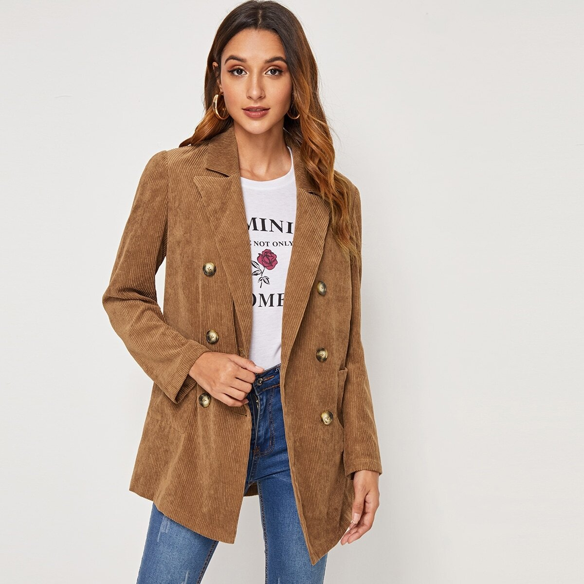 Mantel mit eingekerbtem Ausschnitt und Zweireihig