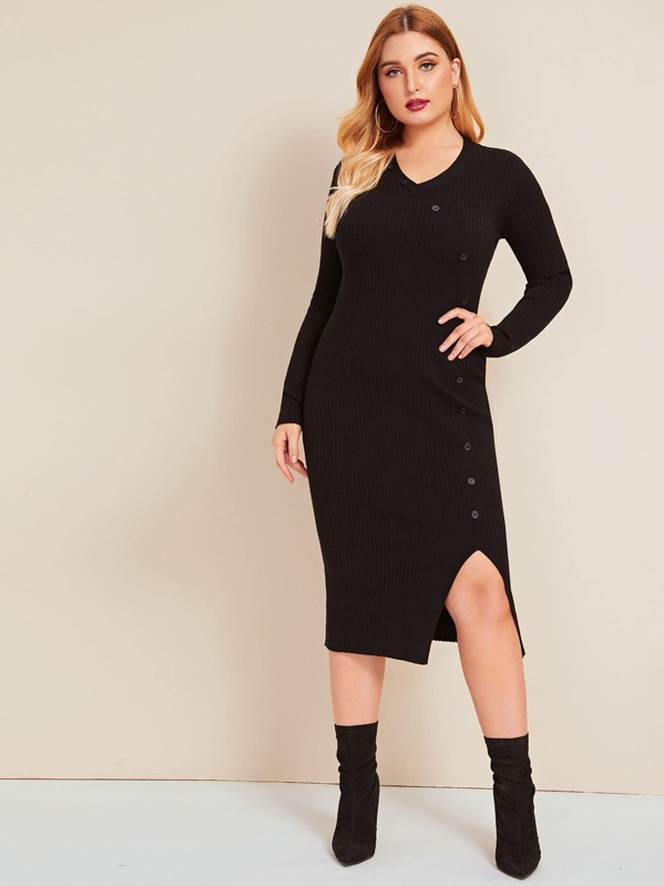 Plus Button Detail Split Hem Rib-knit Sweater Dress