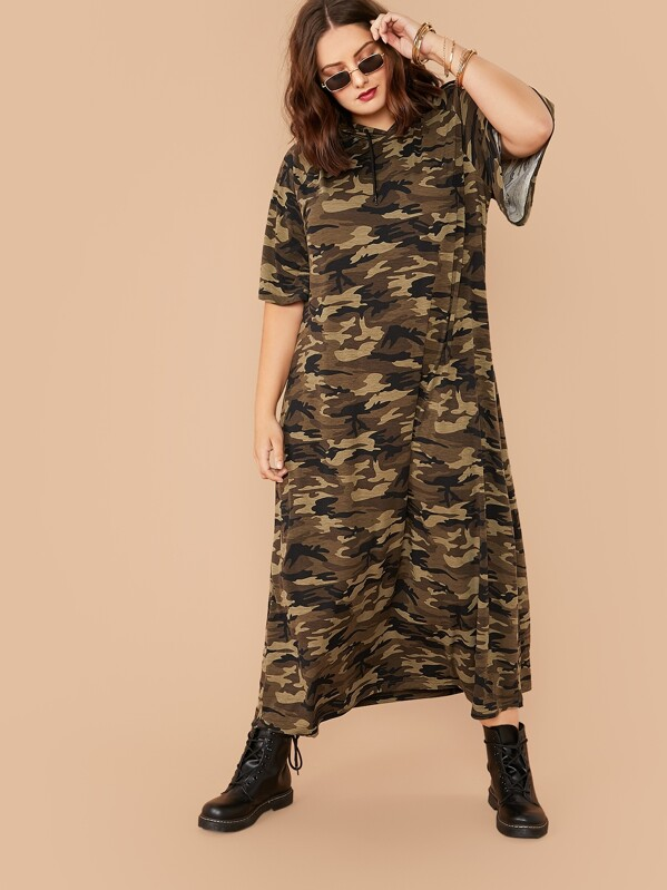 Plus Raglan Sleeve Camo Drawstring Hooded Dress