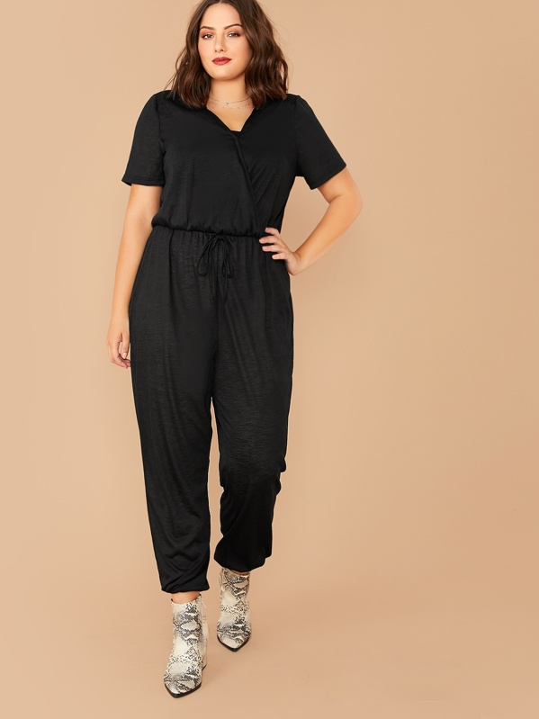 SheinPlus Solid Tie Front Wrap Jumpsuit by Sheinside