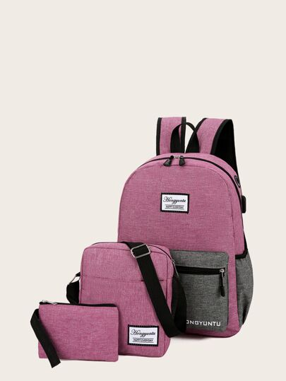 Canvas Backpack With Crossbody Bag 3pcs