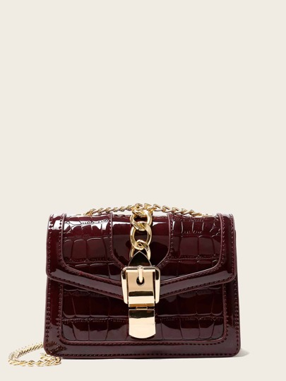 Croc Embossed Chain Decor Crossbody Bag