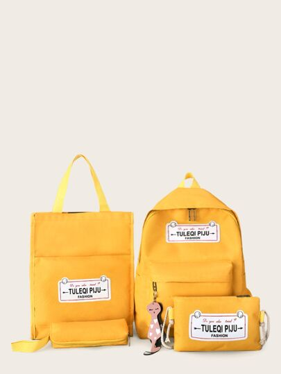 Letter Patch Decor Backpack With Pencil Case 4pcs