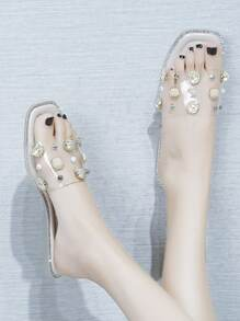 Open Toe Studded Decor Sliders