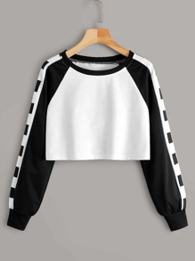 Cut And Sew Raglan Sleeve Crop Sweatshirt