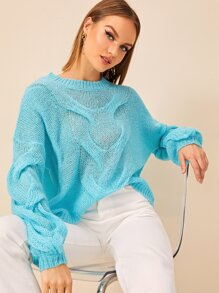 Drop Shoulder Open Stitch Cable Pattern Sweater