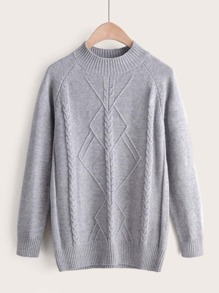 Solid Mock Neck Raglan Sleeve Knit Sweater