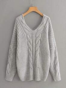 V Neck Drop Shoulder Cable Knit Sweater