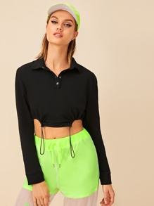 Drawstring Hem Button Collar Crop Sweatshirt
