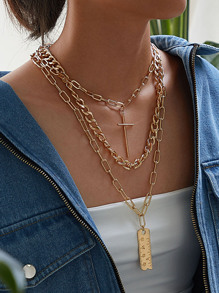 Cross & Ruler Charm Chain Necklace 3pcs