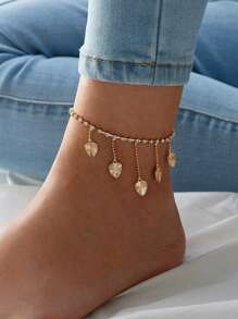 Heart & Rhinestone Decor Chain Anklet 1pc