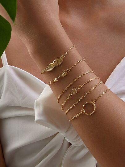Wing & Arrow Decor Chain Bracelet 6pcs